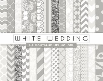 White Digital Paper. Digital gray  paper, Wedding scrapbook paper patterns, Instant Download for Commercial Use