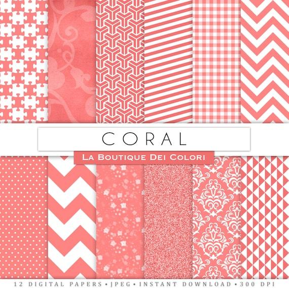 Coral Digital Paper Pack Digital coral paper digital paper coral ...