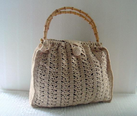 Crochet Bag Bamboo Handles Pattern : Vintage Crochet Tote Ivory Knit Handbag with Bamboo handles