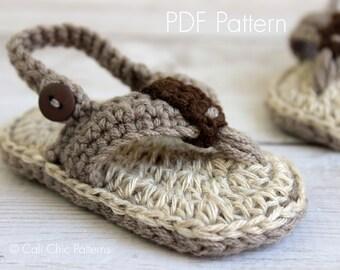 Crochet baby flip flops PATTERN 312 - Malibu Baby flip flops pattern - Crochet baby sandals pattern - Instant Download PDF Pattern