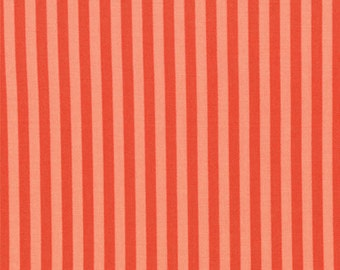 Half Yard Bartholo-meow's Reef - Lattitude Stripes in Tonal Coral - Orange Cotton Quilt Fabric - Tim and Beck for Moda - 39535-12 (W2814)