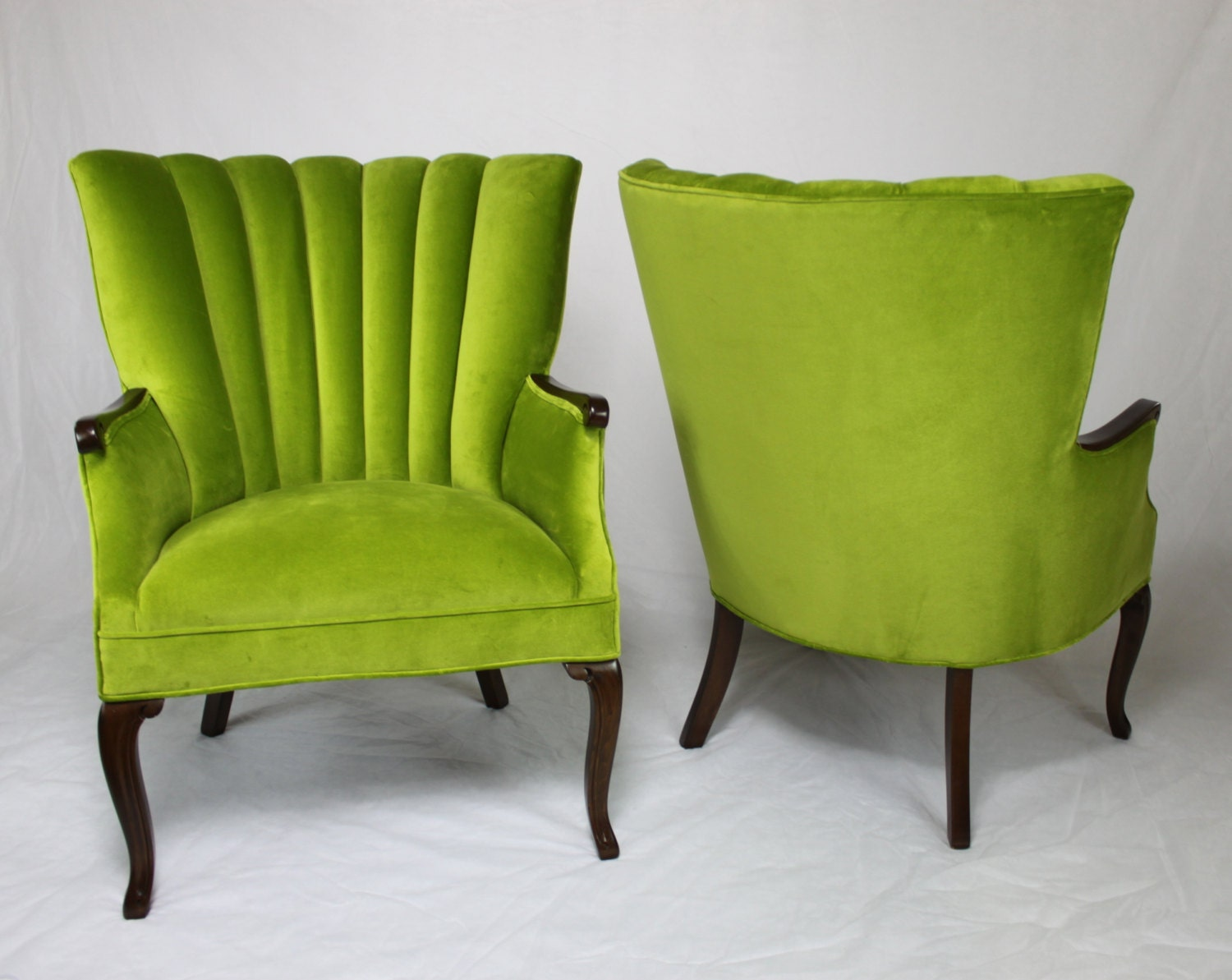 Antique velvet chair - Sold Pair Of Vintage Antique Channel Back Chairs In Apple Green Velvet With Medium