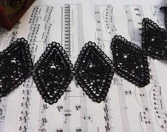 Black Lace Unique Rhombus Lace Applique Trim for Scrapbooks, Applique Sewing, Costume Design