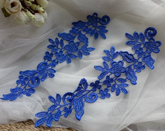 Royal blue Flower Applique Lace for Wedding dress, Lace Garter, Headpiece, Jewelry Design
