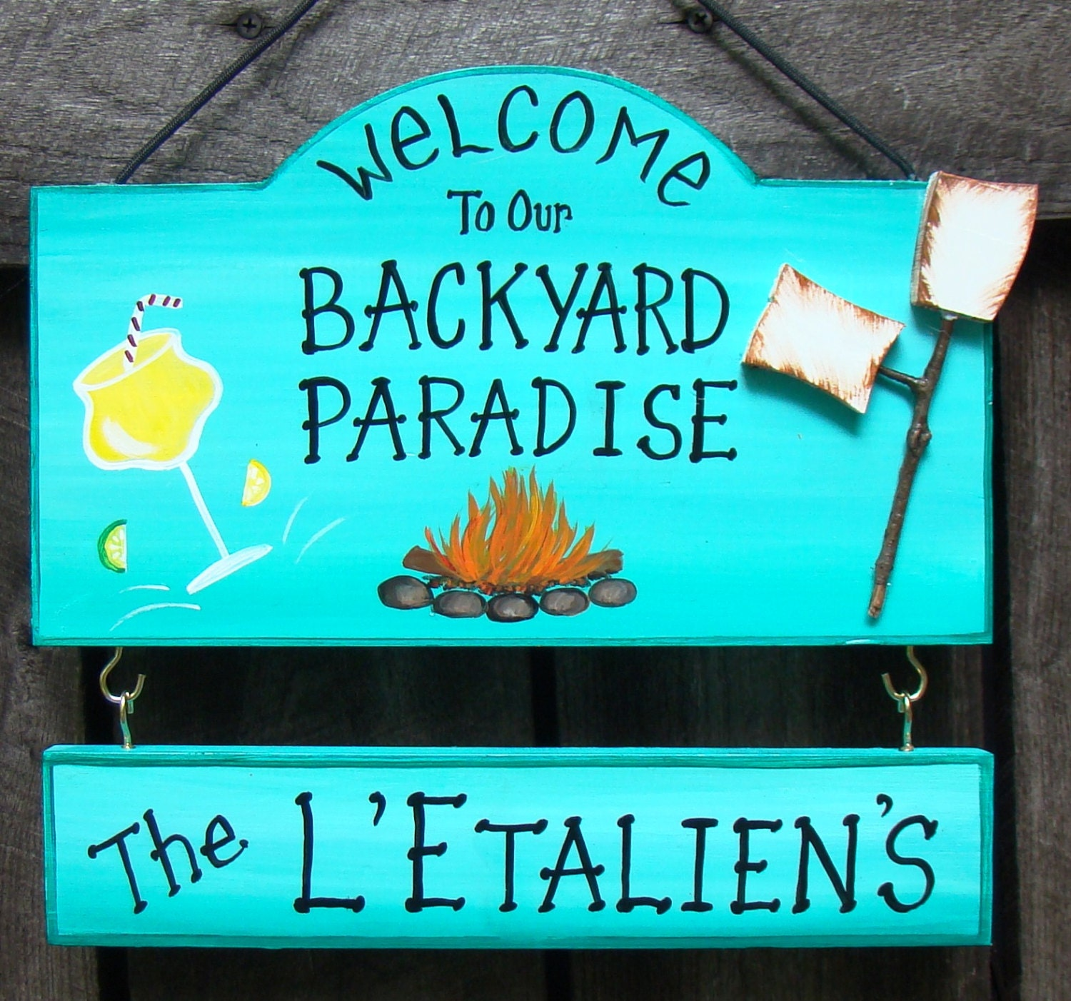 Welcome to our backyard paradise or patio camp sign with your for Name something you might find in a swimming pool