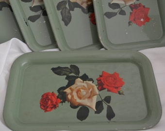 Vintage Shabby Chic Floral Tin Trays