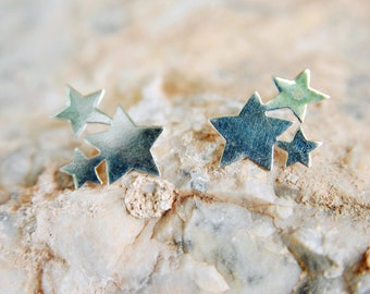Star Stud earrings three star earrings cute Tiny Sterling Silver Stud Earrings, fun earrings, simple everyday earrings, Constellation