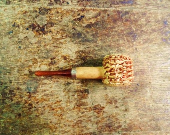 CORN COB PiPe- Small Old Pipe- Hillbilly Corncob Pipe- Fun Old Smoking Collectible- Vintage Tobacciana-Gag Gift-Folk-Orphaned Treasure