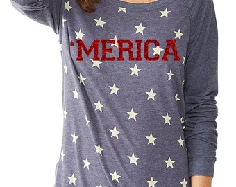 Merica Stars and Stripes Patriotic Shirt  Fourth of July T Merica Shirt