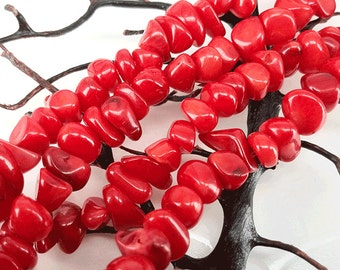 Full Strand 37 Inches 7-10mm Red Coral Chip Beads Irregular coral spacer beads