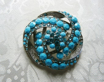 Vintage Faux Turquoise Beads and Rhinestones Chunky Silvertone Brooch Pin Designer Gift Collectible