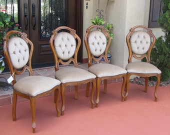 Elegant Walnut French Art Nouveau Style Dining Chairs from the 50's