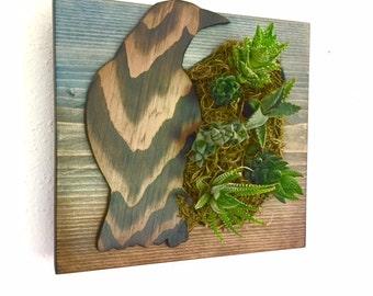 CUSTOM COLOR: Crow Black Bird Succulent + Cactus Vertical Garden / Living Wall / Wall Planter / Hanging Garden