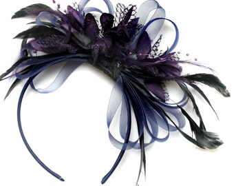 Navy Blue & Dark Purple Fascinator on Headband