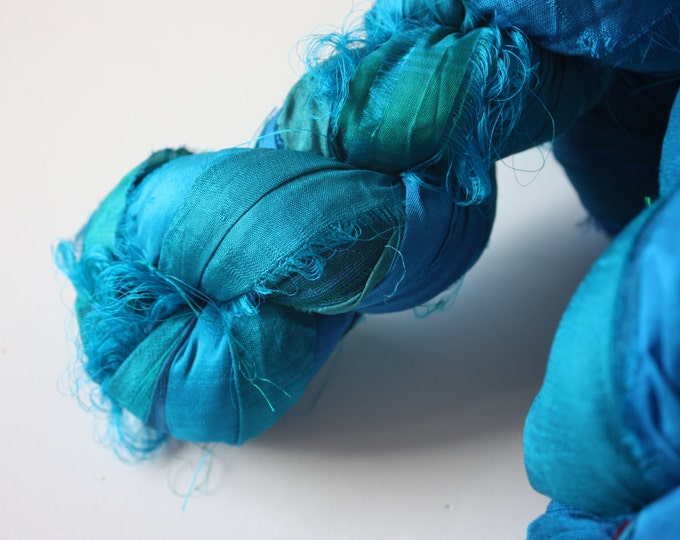 25% OFF SALE ***Recycled Sari Silk Ribbon - Peacock