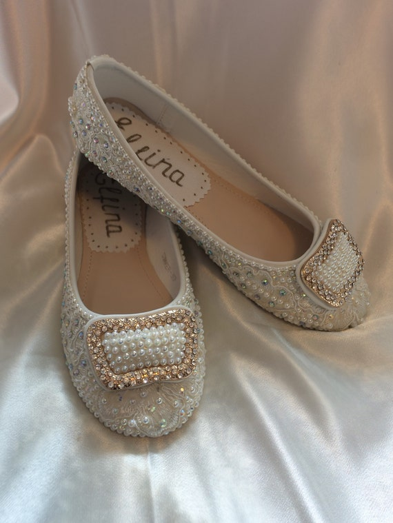 wedding shoes bridal flats beaded rhinestones by