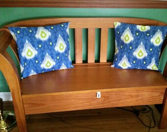 Blue white lime green Ikat Pillow Covers