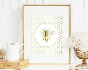 Bee Art Print, Bee Honeycomb, Gold Bee Art, 5x7, 8x10, 11x14 Gold 'Look' Art Print, Gold Wall Decor, Bee Print, Bedroom Wall Art, Wall Decor