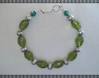green bracelet, olive green bracelet, green crystal bracelet