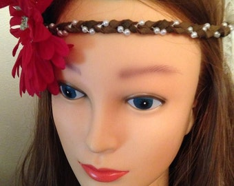 Fourth of July Gypsy Special - Leather and Floral Headband