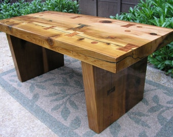 Mid Century Modern Hand Lacquered Reclaimed Cedar Indoor Bench, Coffee Table.  Mountain Modern,