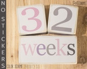Wooden Baby Age Blocks - NO STICKERS - Distressed White - Months, Years, Weeks, Grade - The Perfect Photo Prop