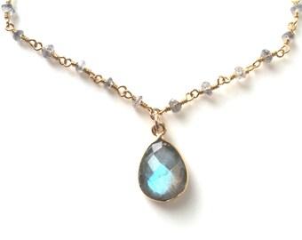 Labradorite necklace, Labradorite Gold Necklace, Delicate Labradorite Teardrop Necklace, Labradorite Rondelle Chain