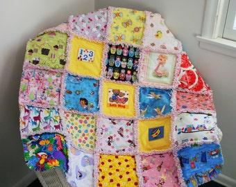 New Girls I-Spy rag quilt, blanket, baby, toddler, nursery bedding, Minnie Mouse, Tinkerbell, Dora - Ready to Ship!