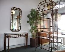 Etagere Hollywood Regency Bamboo Etagere or Shelving Unit or Bookshelf Mid Century Modern Storage Faux Bamboo Furniture