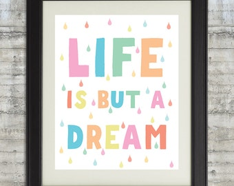 Life is but a dream Typography Art, Life is But A Dream Nursery Art, Printable, Nursery Wall Art, Pastel Scandinavian Art - 8x10 file