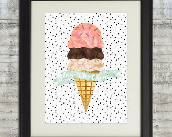 Ice Cream Party Decor, Ice Cream Social Sign, ice Cream Print, Ice Cream Nursery Art, Ice Cream Party,  Gold Mint and Pink Nursery Art