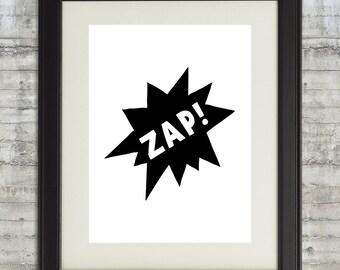 ZAP! Superhero Wall Decor, Comic Burst Printable, Black and white nursery art, boys room decor, super hero wall Art printable, kids room art
