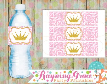 Princess Pink and Gold Water Bottle Labels (Digital/Printable)