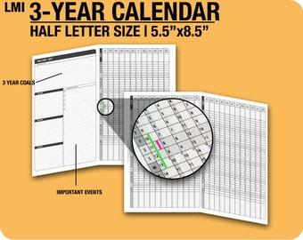 2017 to 2019 - 3 years Calendar / fold into Half Letter - Filofax Inserts Refills Filofax Binder Collins 2015 2016 2017