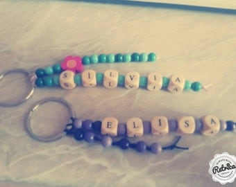 Keyrings personalized with name and colour of your choice