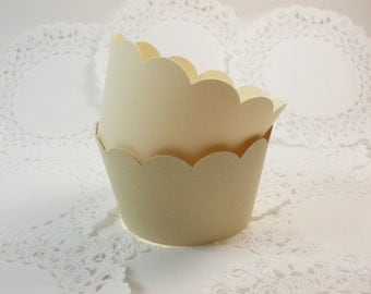 Cream & Tan Cupcake Wrappers, Cupcake Holders, Birthday Party, Wedding, Shower, All Occasion, Set of 12, Standard Size