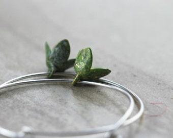 Green Flower Earrings Vintage Metal Hoops Everyday Earrings Silver Earrings Delicate Jewelry Sterling Silver Earrings
