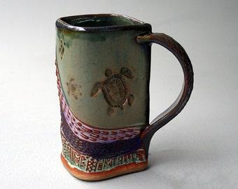 Sea Turtle Mug, Hand-built Stoneware