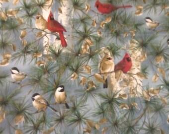 1/2 yard Cardinal and Chickadees in pine tree fabric