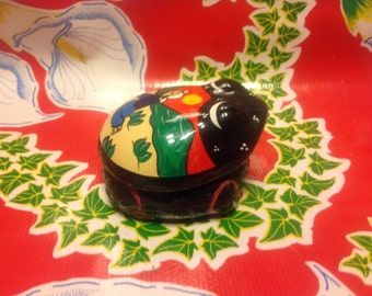 Vintage folk art terra cotta red clay hand painted frog container or jar - Mexico