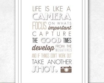 INSTANT DIGITAL DOWNLOAD . Life Is Like A Camera . Photography Inspired Printable Art . Neutral Colours . a4 Size . Quote