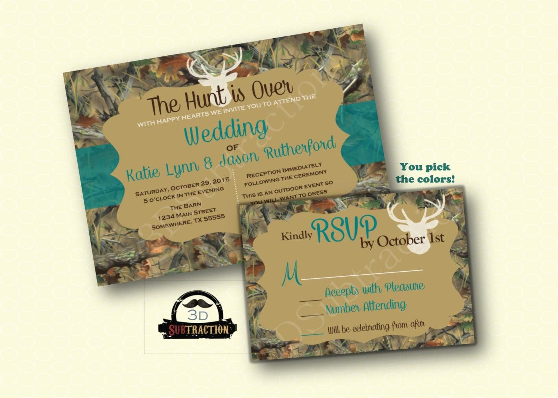 Deer Wedding Invitations: Beautiful Camo & Deer Wedding Invitation With RSVP. Camo Deer