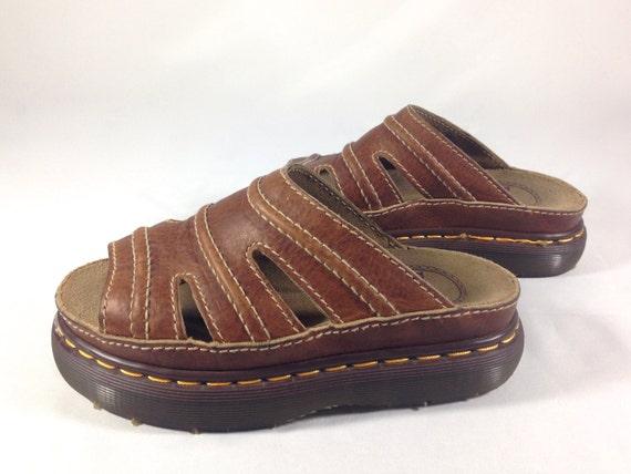 dr martens air wair open toe brown leather slide sandals. Black Bedroom Furniture Sets. Home Design Ideas