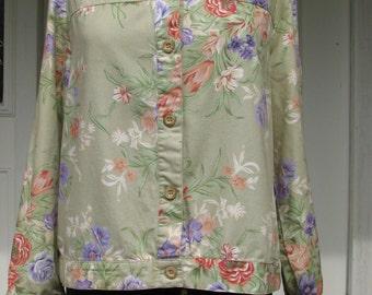 Vintage Floral Jacket - Floral Jacket - Size L Jacket - Light Jacket - Cropped Jacket - Summer Jacket