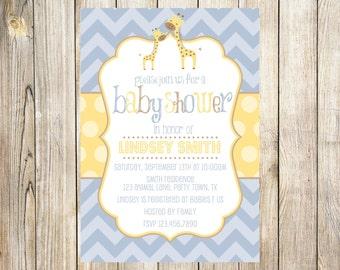 Giraffe Boy Baby Shower Invitation