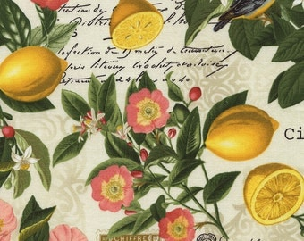Lemon Floral Fabric - Citron Collection from Timeless Treasure C3826 Yellow - Remnant 17 Inch