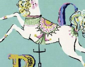 Carousel Fabric - Dear Stella Carousel Horse & Alphabet Fabric - Carousel by Dear Stella Fabrics - ST-154 Mint - Choose your size