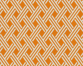 Outdoor Tangerine Orange Lattice Print Decorative Throw Pillow Cover with Hidden Zipper