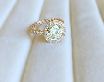 Elizabeth Forever Brilliant Moissanite Floral Filigree Bezel Set and Diamond Halo Ring