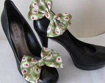 Rockabilly shoe clip. Kawaii cherry floral Lolita fabric shoe hair clip - 1950 Rockabilly punk rock style. UK SELLER